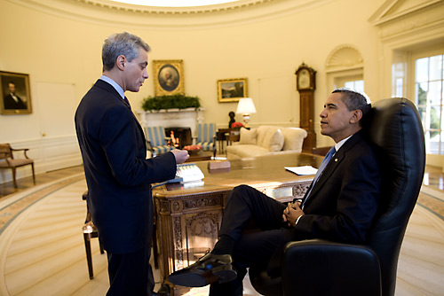 President Obama and Rahm Emanuel, his first Chief of Staff, in the Oval Officxe